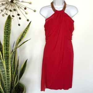 Bebe red chain halter party dress size medium